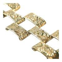 Art Deco Sterling Silver Repousse Worked Brick Link Wide Bracelet, Signed DOREL STERLING, 44 Grams