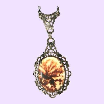 Art Deco Drop Necklace Fabulous Moss Agate Gemstone, Sterling Silver Filigree Work