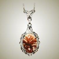 Art Deco Necklace Fabulous Moss Agate Gemstone, Sterling Silver Filigree Work