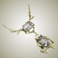 Art Deco Antique Sterling Silver Color Change Necklace, Signed STER