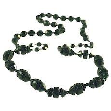 """Antique Art Deco Black Jet Glass Bead Long 28"""", 28 Inch Vintage Necklace"""