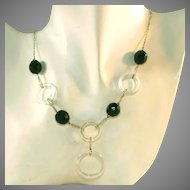 Art Deco Vintage Sterling Silver Glass Circles & Black Jet Glass Faceted Beads Lavaliere Drop Necklace