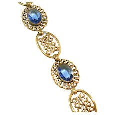 Antique Art Deco Large Blue Paste Open Back Stone & Brass Link Bracelet