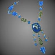 Antique Art Deco Czech Carved Glass Leaves & Rings Blue Glass & Marcasite Vintage Lavaliere Drop Necklace, c.1920