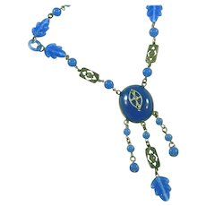 Antique Art Deco Czech Carved Glass Leaves & Rings Blue Glass & Marcasite Vintage Lavaliere Drop Necklace, c.1920