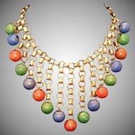 """Art Deco Antique Brass Bookchain & Enamel Crimped Balls Large 3"""" Bib Drop Necklace"""