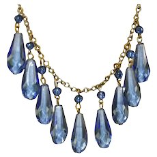 Art Deco Briolette Cut Blue Glass Drops & Vintage, Antique Brass Fringe Necklace