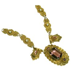 Art Deco Czech Gold Plated Brass & Mauve Stones Vintage Bib Front Drop Necklace