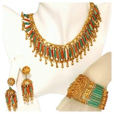 Iconic Vintage Art Deco Egyptian Revival Czech Bookpiece Set, Necklace, Bracelet, Earrings
