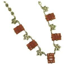 "Art Deco Czech Carnelian Glass Step Cut Vintage 16"" Signed Necklace, Tons of Marcasites"