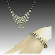 Brilliant Vintage Art Deco Hand Set Rhinestone Bib Necklace & Czech Signed Bracelet Set