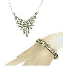 Brilliant Vintage Art Deco Hand Set Rhinestone Bib Necklace & Czech Signed Bracelet Set