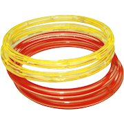 Art Deco Four Fire Engine Red & Bright Yellow Striped Vintage Czech Glass Bangles