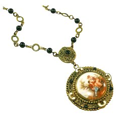 Antique Art Deco Max Neiger Czech Vintage Portrait Necklace, Enamel Trim