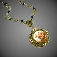 Antique Art Deco Max Neiger  Czech Vintage Portrait Necklace, Enamel Trim