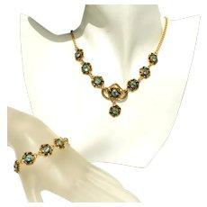 Art Deco Czech Tombac (Pinchbeck) Gold & Turquoise Rhinestone Vintage Drop Necklace & Bracelet Set