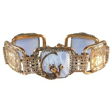 Art Deco Antique Czech Dragon & Blue Slag Glass Link Bracelet