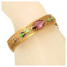 Art Deco Filigree Enamel Trim & Amethyst Stone Hinged Bangle with Safety Chain