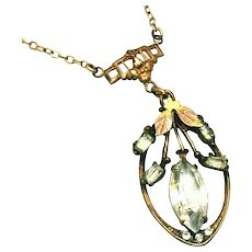 Art Deco Vintage White Co. Signed Rose & Yellow Gold Filled Lavaliere Necklace, c.1928