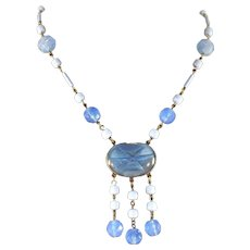 Art Deco Blue Chalcedony Glass & Star Sapphire Glass Lavaliere Necklace