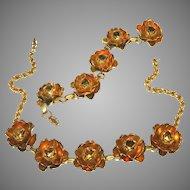 Art Deco Gold Over Brass Vintage Open Roses Necklace & Bracelet Set