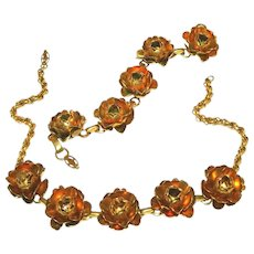 Art Deco Gold Over Brass Vintage Open Roses Necklace & Bracelet Set