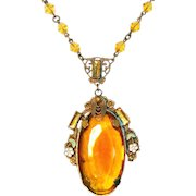 Vintage Max Neiger Czech Amber Glass, Vauxhall Glass & Enamel Lavaliere Style Necklace