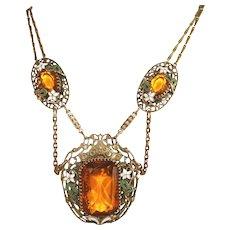 Art Deco Czech Bib Necklace, Max Neiger, Neiger Bros Embellished Stones, Enameled Overlay