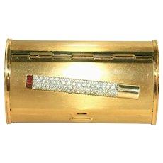 Art Deco Brass Rhinestone Cigarette on Top Case, Oval Shape