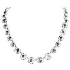 """Art Deco Rock Crystal Riviere Style Sparkling Large ½"""" Stone Vintage Necklace, Crystal Plumb"""