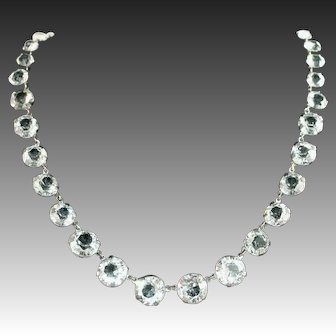 "Art Deco Rock Crystal Riviere Style Sparkling Large ½"" Stone Vintage Necklace, Crystal Plumb"
