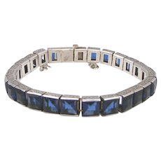 Art Deco Sterling Silver Sapphire Paste Vintage Bracelet, Never Ending Look!