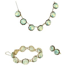 Art Deco Sterling Silver & Opaline Glass Vintage Japanese Full Set, Necklace, Bracelet, Earrings Parure