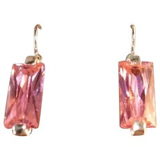 Art Deco Style Vintage Sterling Silver Pink Ice Drop Earrings