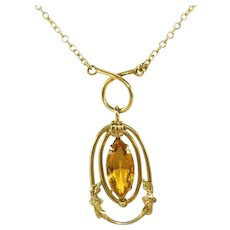 "Antique Art Deco White Co Amber Citrine Marquis Stone Necklace, 1 ½"" Drop"