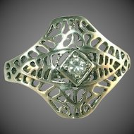 AVON Vintage Sterling Silver Cut Work, Center Stone Art Deco Ring, Size 6 ½