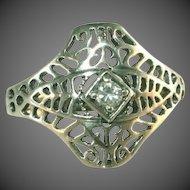 AVON Vintage Sterling Silver Cut Work, Center Stone Art Deco Ring, Size 6 ½