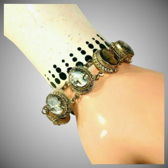 Antique Carved Abalone Cameo & 800 Silver Bracelet