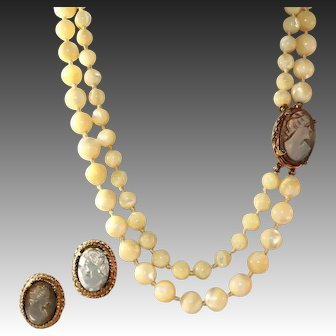 Long Two Strand Hand Knotted Carved Mother of Pearl & Abalone Vintage Carved Cameo Necklace, Earring Set