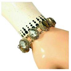 Antique Carved Abalone Cameo & 800 Silver Antique Bracelet