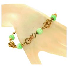 Accessocraft Vintage Faux Jade & Rope Links Signed Bracelet