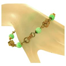 Accessocraft N.Y.C. Vintage Jade Glass & Quadruple Twisted Linked Bracelet