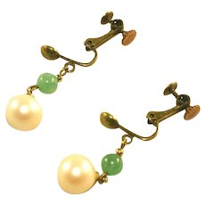 Adventurine & Cultured Pearl Gold Tone Vintage Adjustable Clip Earrings