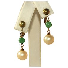 Peking Glass & Cultured Pearl Gold Tone Vintage Adjustable Clip Earrings