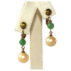 Peking Glass Jade & Cultured Pearl Gold Tone Vintage Adjustable Clip Earrings
