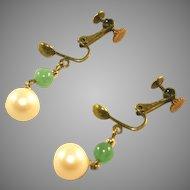 Adventurine & Cultured Pearl Gold Tone Vintage Adjustable Clip Earrings