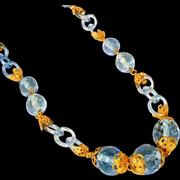 Art Deco Vintage Czech Necklace, Blue Glass Links, Many Faceted Beads, Fancy End Caps