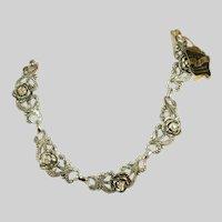 Vintage Aluminum Fancy Faux Marcasite & Aurora Borealis Stones Rare Collectors EVER-NU JEWELRY Necklace, c.1940