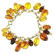Amber Glass Vintage Charm Bracelet, Various Shades of Golden Color