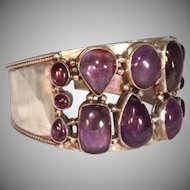 "Extra Wide 1 1/2""  Sterling Silver & Polished Amethyst Vintage Cuff Bracelet"